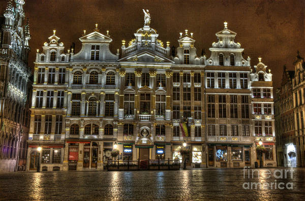Wall Art - Photograph - Night Time In Grand Place by Juli Scalzi