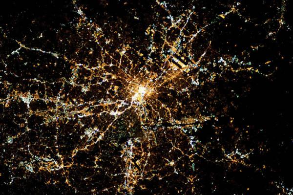 Satellite Image Wall Art - Photograph - Night Time Satellite Image Of Atlanta by Panoramic Images