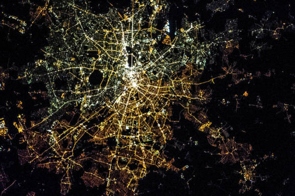 Satellite Image Wall Art - Photograph - Night Time Satellite Image Of Berlin by Panoramic Images