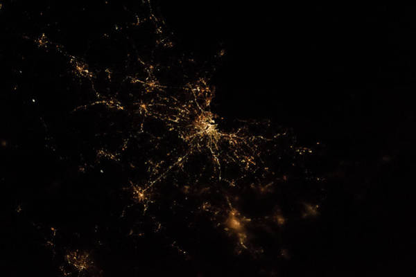 Iss Photograph - Night Time Satellite Image Of Boston by Panoramic Images