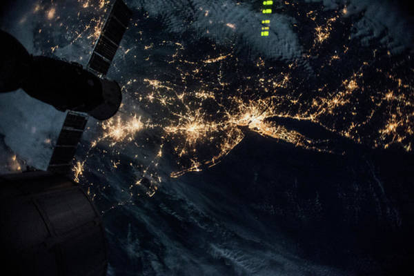 Satellite Image Wall Art - Photograph - Night Time Satellite Image Of New York by Panoramic Images
