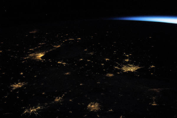 Iss Photograph - Night Time Satellite Image Of Northern by Panoramic Images