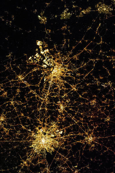 Antwerp Photograph - Night Time Satellite View Of Antwerp by Panoramic Images
