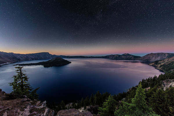 Crater Lake National Park Photograph - Night Time Stars Over Crater Lake by Chuck Haney