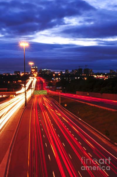 Nighttime Photograph - Night Traffic by Elena Elisseeva