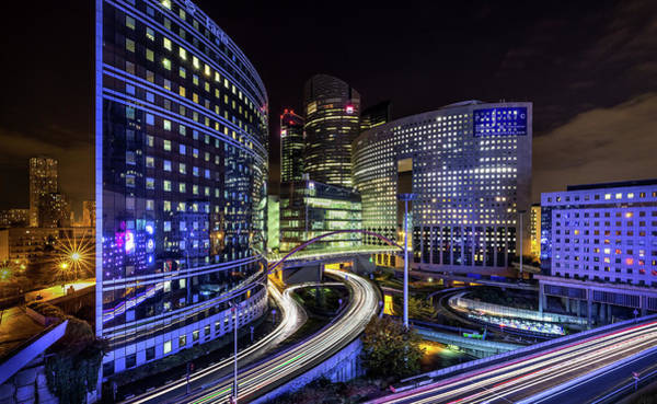 Finance Photograph - Night Traffic by Sus Bogaerts