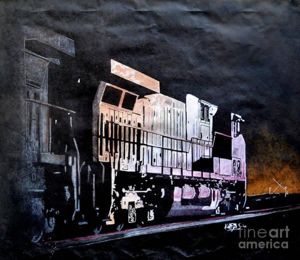 Night Time Drawing - Night Train by Paul Kuras
