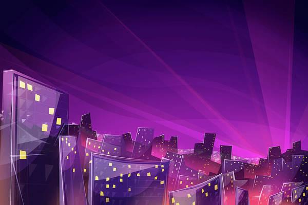 Neon Blue Digital Art - Night View Of City by Bji/blue Jean Images
