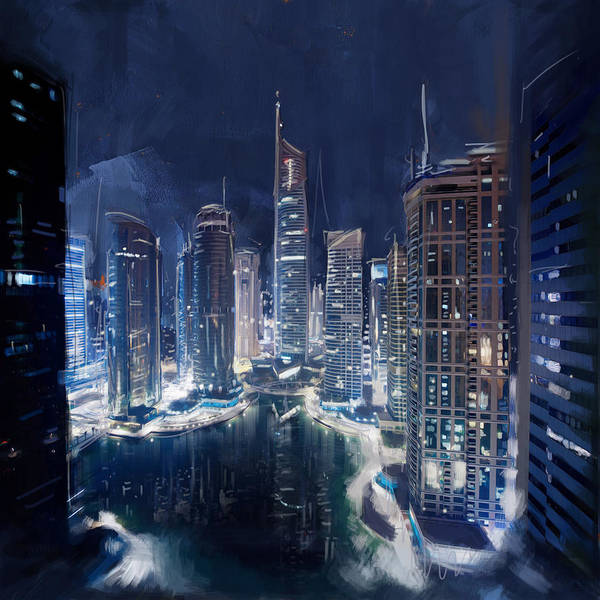 Commodity Painting - Night View Of Jlt Dubai by Corporate Art Task Force
