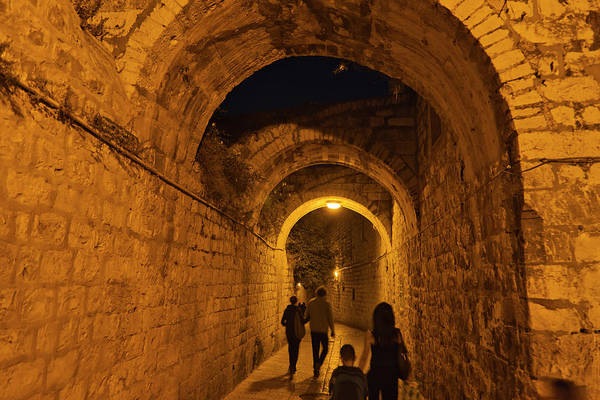 Old Jerusalem Photograph - Night View Of Old Town, Jerusalem by Keren Su
