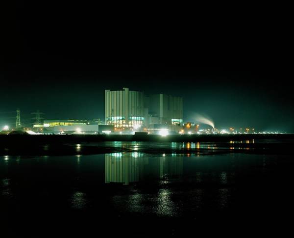 Fire Station Photograph - Night View Of Oldury Nuclear Power Station by Martin Bond/science Photo Library