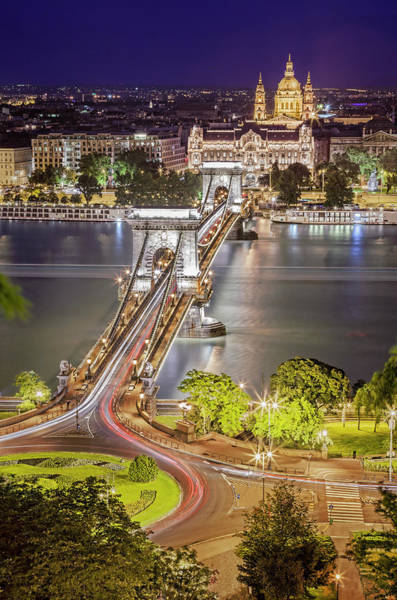 Photograph - Night View Of Pest From Buda Hill by All Rights Reserved - Copyright
