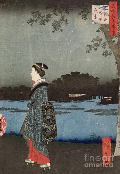 Platform Painting - Night View Of Sanya Canal And Matsuchi Hill by Hiroshige