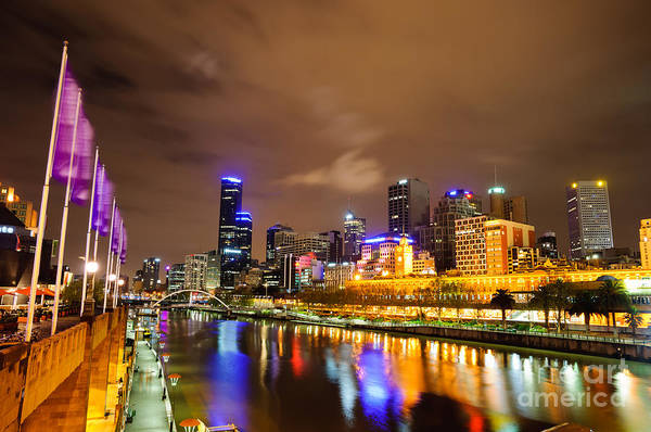 Night View Of The Yarra River And Skyscrapers - Melbourne - Australia Art Print