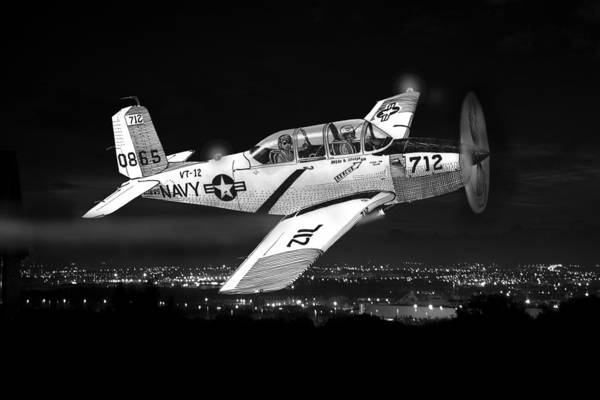 In Service Painting - Night Vision Beechcraft T-34 Mentor Military Training Airplane by Jack Pumphrey