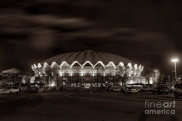 Photograph - night WVU Coliseum basketball arena by Dan Friend