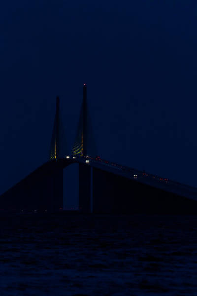 Photograph - Nightfall At The Sunshine Skyway by Ed Gleichman