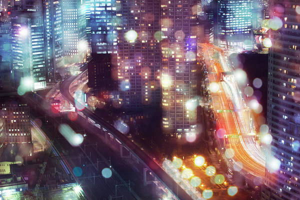 Multi Exposure Photograph - Nightscape In Tokyo With A Lot Of Glow by Hiroshi Watanabe
