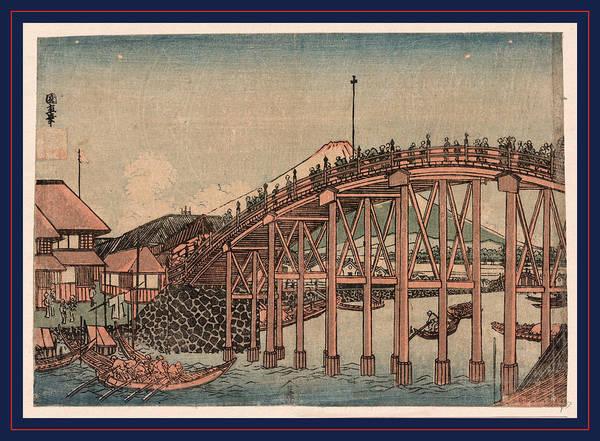 1854 Drawing - Nihonbashi Yori Fuji O Miru Zu by Utagawa, Kuninao (1795-1854), Japanese