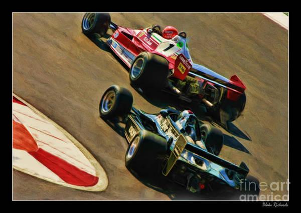 Niki Lauda Leads Mario Andretti Art Print