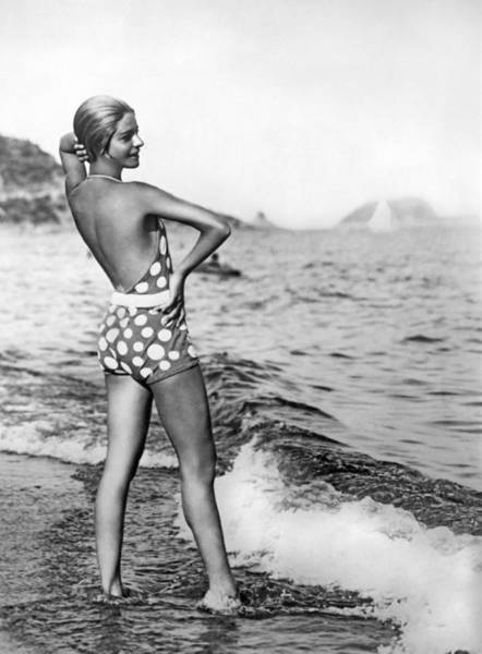 Polka Dots Photograph - Nikitina's Bathing Suit by Underwood Archives