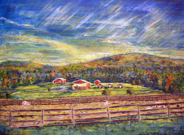 Upstate New York Painting - Nikki And Her Babies' Farm Sanctuary Portrait by Denny Morreale