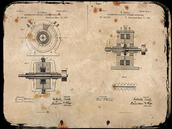 Digital Art - Nikola Tesla's Alternating Current Generator Patent 1891 by Paulette B Wright