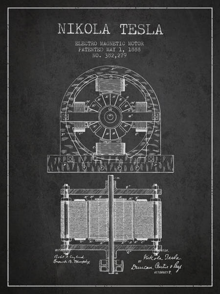 Electricity Digital Art - Nikola Tesla Electro Magnetic Motor Patent Drawing From 1888 - D by Aged Pixel