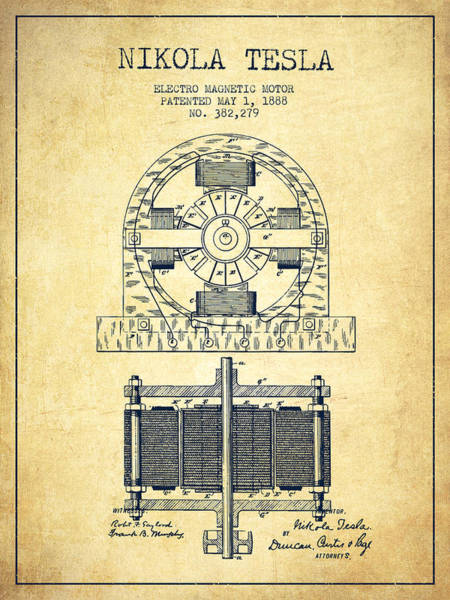 Exclusive Rights Wall Art - Digital Art - Nikola Tesla Electro Magnetic Motor Patent Drawing From 1888 - V by Aged Pixel