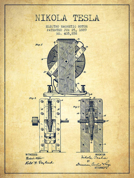 Electricity Digital Art - Nikola Tesla Electro Magnetic Motor Patent Drawing From 1889 - V by Aged Pixel