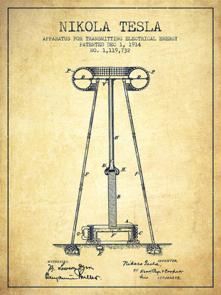Intellectual Property Wall Art - Digital Art - Nikola Tesla Energy Apparatus Patent Drawing From 1914 - Vintage by Aged Pixel