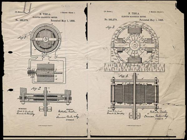 Wall Art - Digital Art - Nikola Tesla's Magnetic Motor Patent 1888 by Paulette B Wright