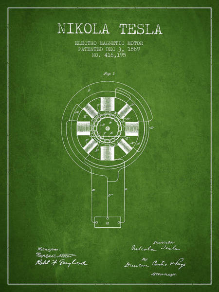 Electricity Digital Art - Nikola Tesla Patent Drawing From 1889 - Green by Aged Pixel