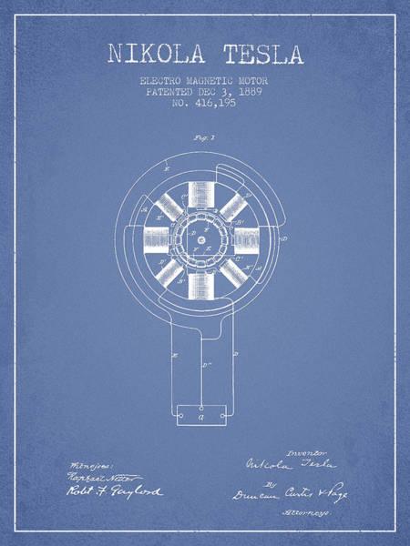 Electricity Digital Art - Nikola Tesla Patent Drawing From 1889 - Light Blue by Aged Pixel