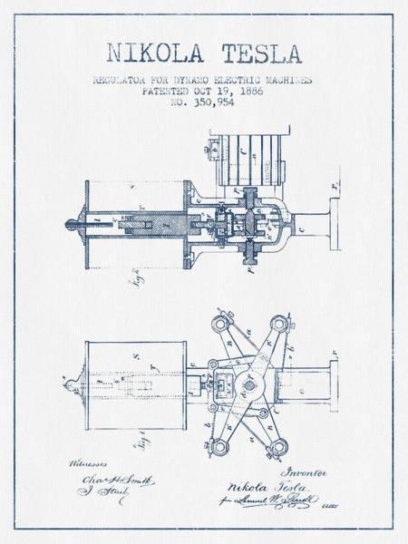 Electricity Digital Art - Nikola Tesla Regulator Patent Drawing From 1886- Blue Ink by Aged Pixel