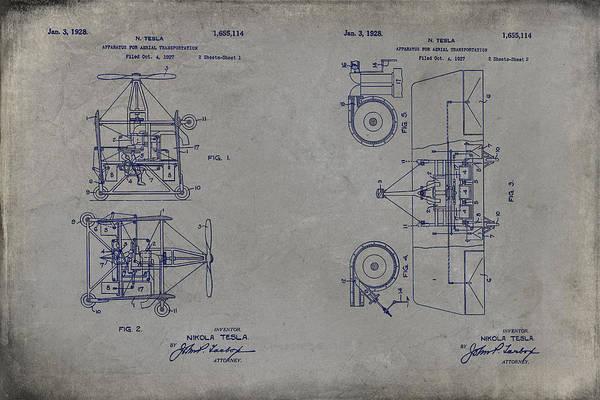 Digital Art - Nikola Tesla's Aerial Transport Patent 1928 Grunge Gray by Paulette B Wright