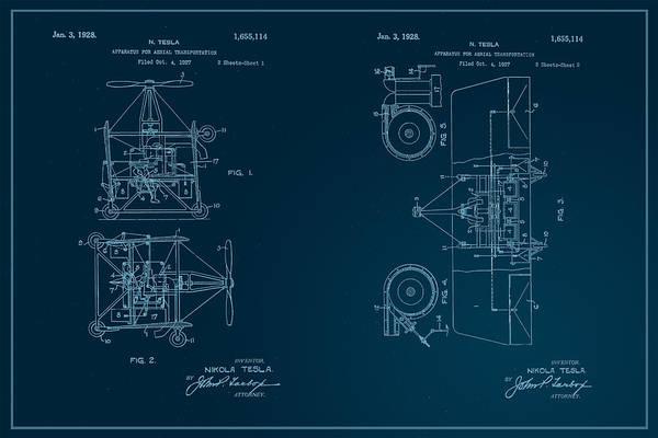 Digital Art - Nikola Tesla's Aerial Transport Patent 1928 by Paulette B Wright