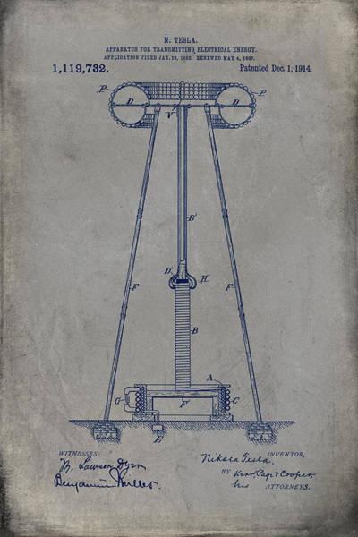 Digital Art - Nikola Tesla's Apparatus For Transmitting Electrical Energy Patent 1914 by Paulette B Wright