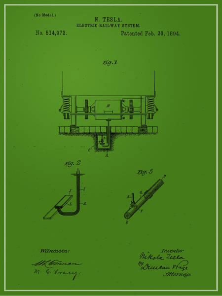 Digital Art - Nikola Tesla's Electric Railway Patent 1894 by Paulette B Wright