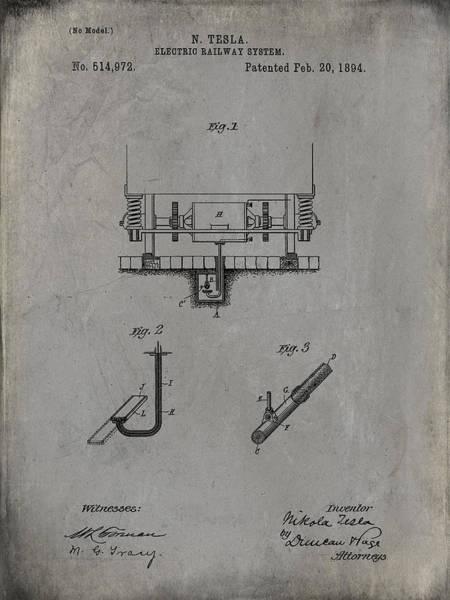 Digital Art - Nikola Tesla's Electric Railway System Patent 1894 Grunge Grey by Paulette B Wright