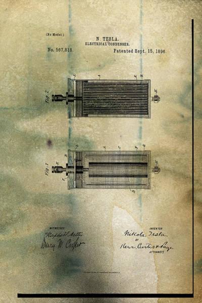 Digital Art - Nikola Tesla's Electrical Condenser Patent 1896 by Paulette B Wright