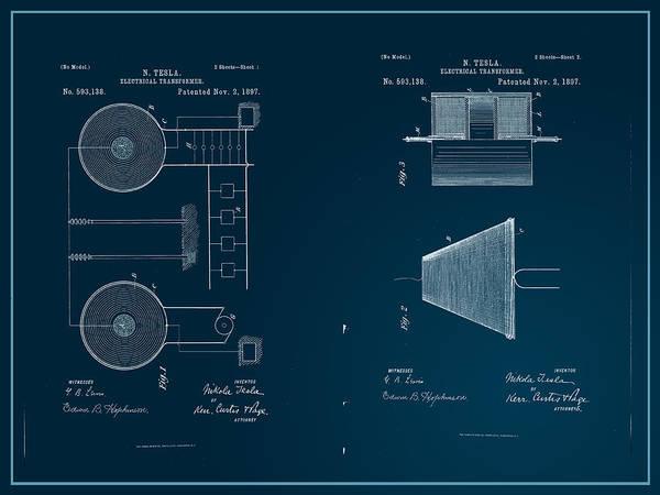 Digital Art - Nikola Tesla's Electrical Transformer Patent 1897 by Paulette B Wright
