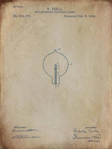 Digital Art - Nikola Tesla's Incandescent Electric Light Patent 1894 Aged by Paulette B Wright
