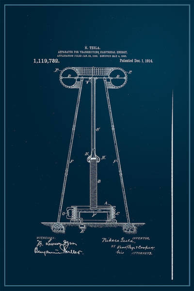 Wall Art - Digital Art - Nikola Tesla's Transmitter Patent 1914 by Paulette B Wright