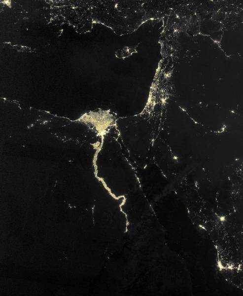 Suomi Photograph - Nile At Night, Satellite Image by Science Photo Library