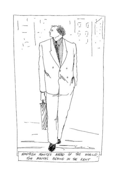 Briefcase Drawing - Nineteen Minutes Ahead Of The World by Richard Cline