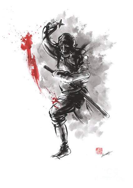Wall Art - Painting - Ninja - Dark Warrior by Mariusz Szmerdt