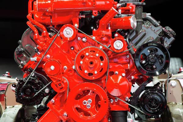 Detroit Auto Show Photograph - Nissan Titan Xd Car Engine by Jim West