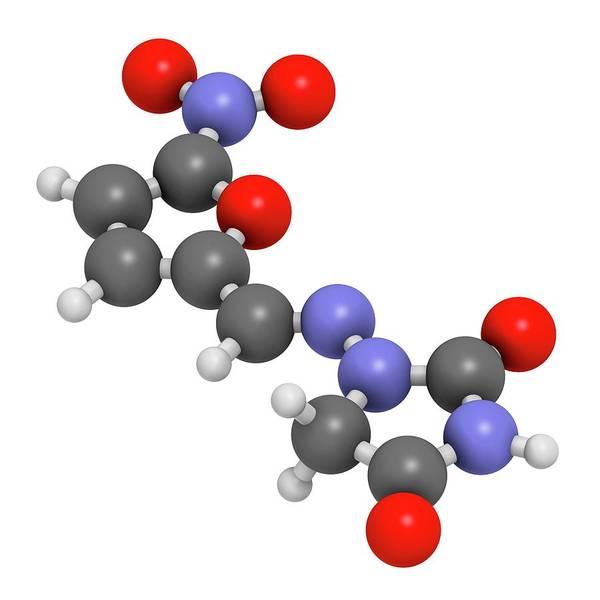 Pharma Wall Art - Photograph - Nitrofurantoin Antibiotic Drug Molecule by Molekuul