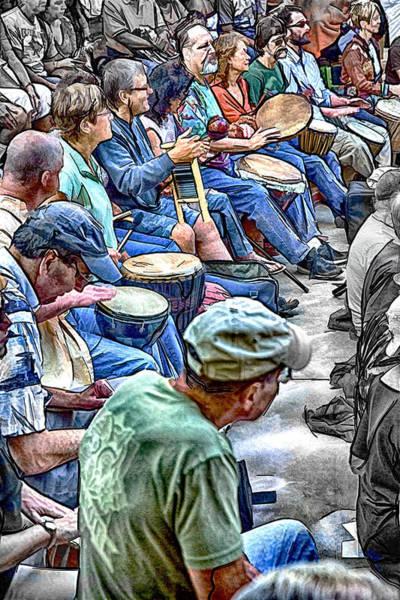 Asheville Mixed Media - Nitty Gritty Drum Circle by John Haldane